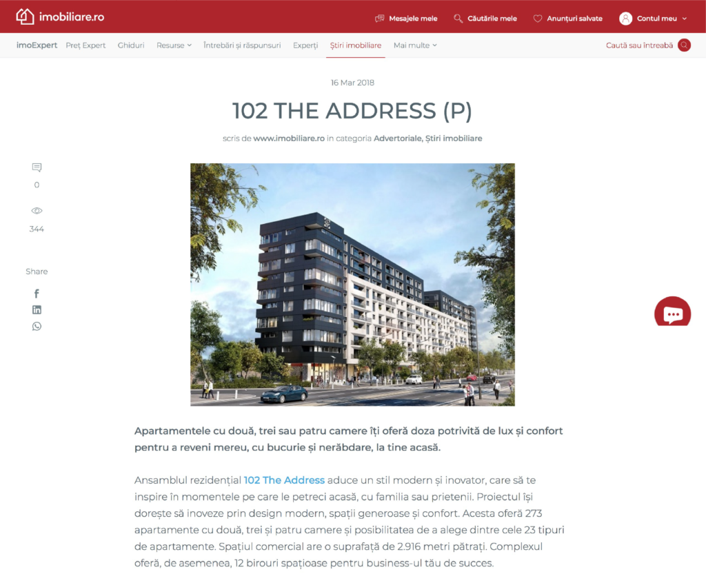 102 The Address imobiliare branding